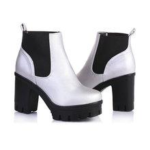 VALLKIN Moda Botines Tacones Altos Atan para arriba los zapatos de Plataforma Bombas de Las Mujeres de La Motocicleta Botas Botas de Nieve de La Boda Tamaño 34-39(China (Mainland))