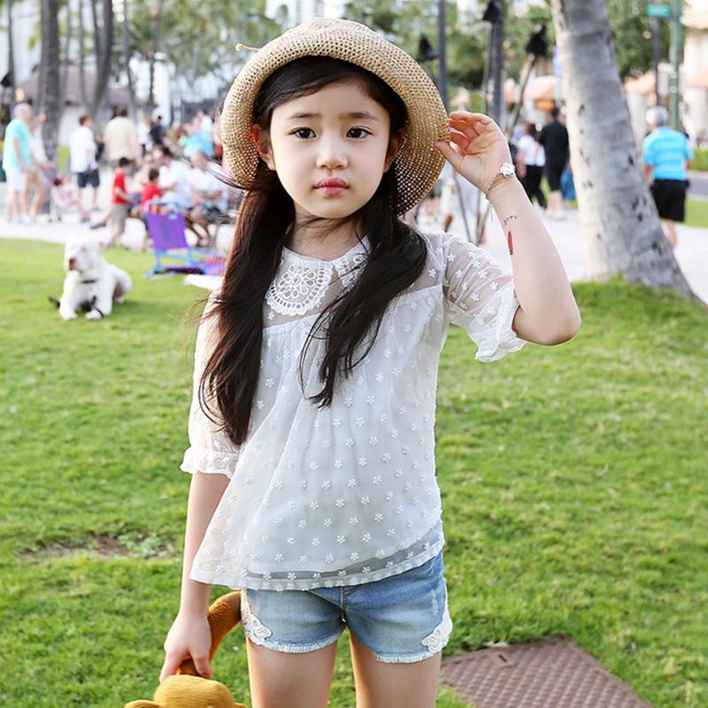 2016 summer new Korean children's clothing lace sleeve kids t-shirt cotton thin good quality girls dot blouse white shirt(China (Mainland))
