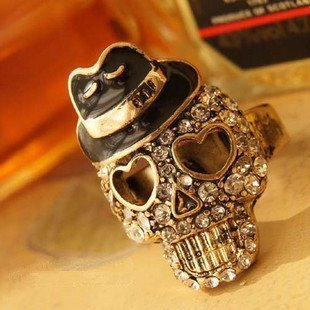 (min order is $10 ,can mixed order) fashion punk skull head pirates Caribbean for bar women's or girl's ring , Free Shipping!