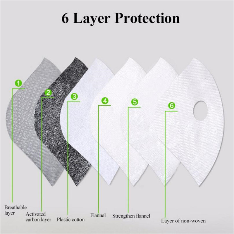 Activated Carbon Mask Filter for Cycling Bike Bicycle Masks 6 Layer Air Cleaner Dust Pollution PM 2.5 Professional Mask Filter(China (Mainland))