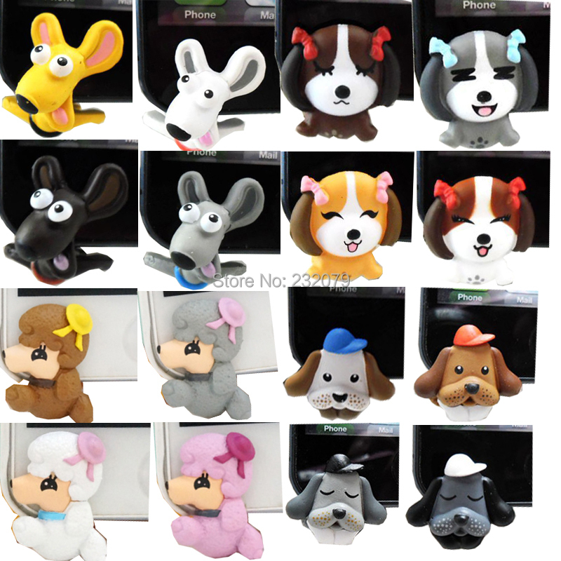 3.5MM Dog Earphone Jack Kawaii Cute Puppy Anti Dust Plugs Mobile Jewelry Charms iphone 5 5s 5c 6 Cell Phone Accessories - Anime Toys Store store