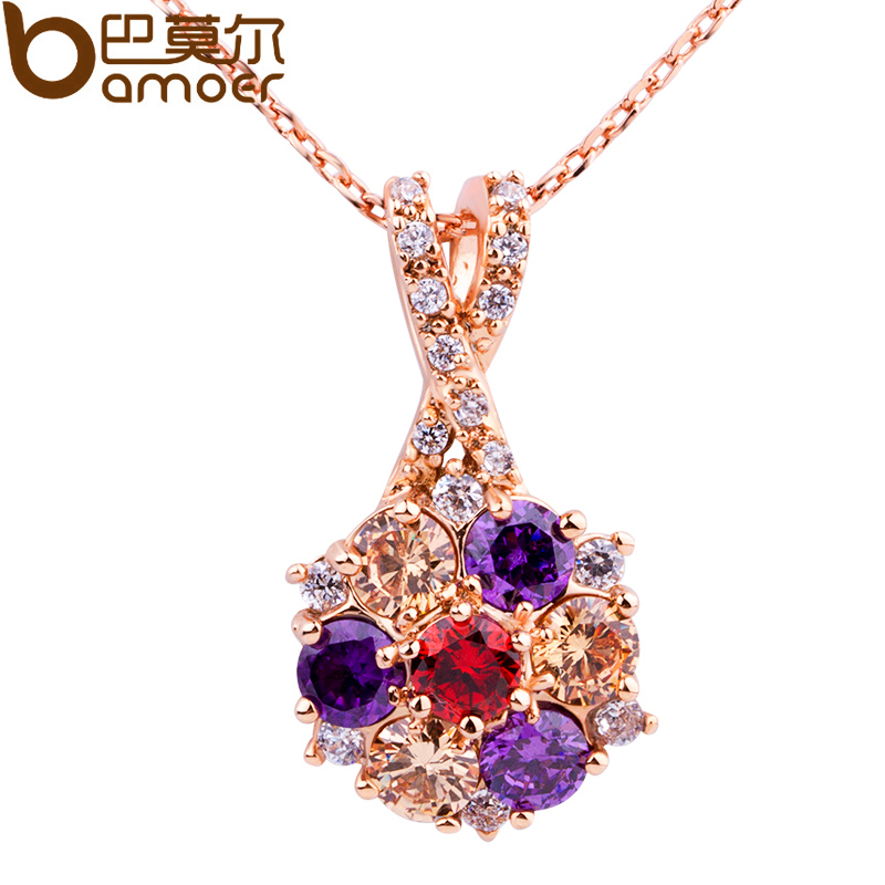BAMOER Luxury 18K Gold Plated Pendant Necklace with Colorful Zircon For Women Party Jewelry JIN012(China (Mainland))
