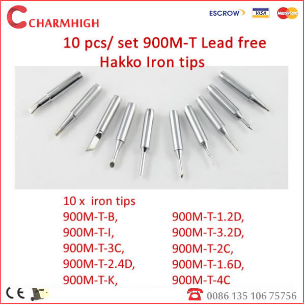 shipping free 10pcs lot lead free soldering iron tips 900m t for hakko aoyu. Black Bedroom Furniture Sets. Home Design Ideas