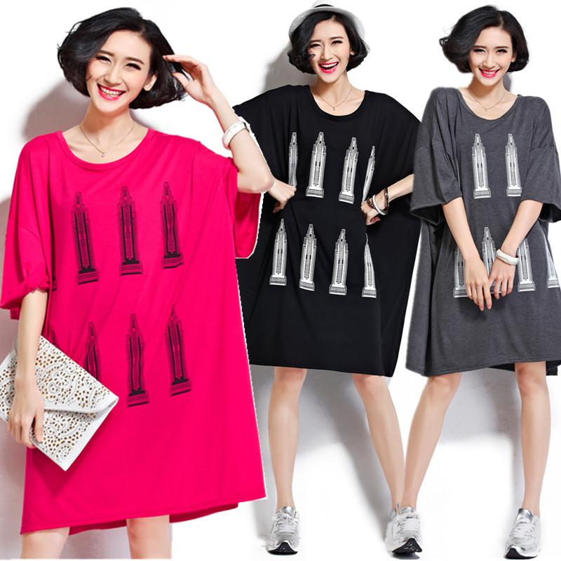 Plus Size 5XL 6XL 2017 Summer European Women Fashion House Print Cotton Tops Tess Ladies Female Big Oversized Long T shirt Dress(China (Mainland))