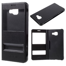 For Samsung A 5 (2016) Phone Bag Dual View Windows PU Leather Case for Galaxy A5 A510F (2016) – Black