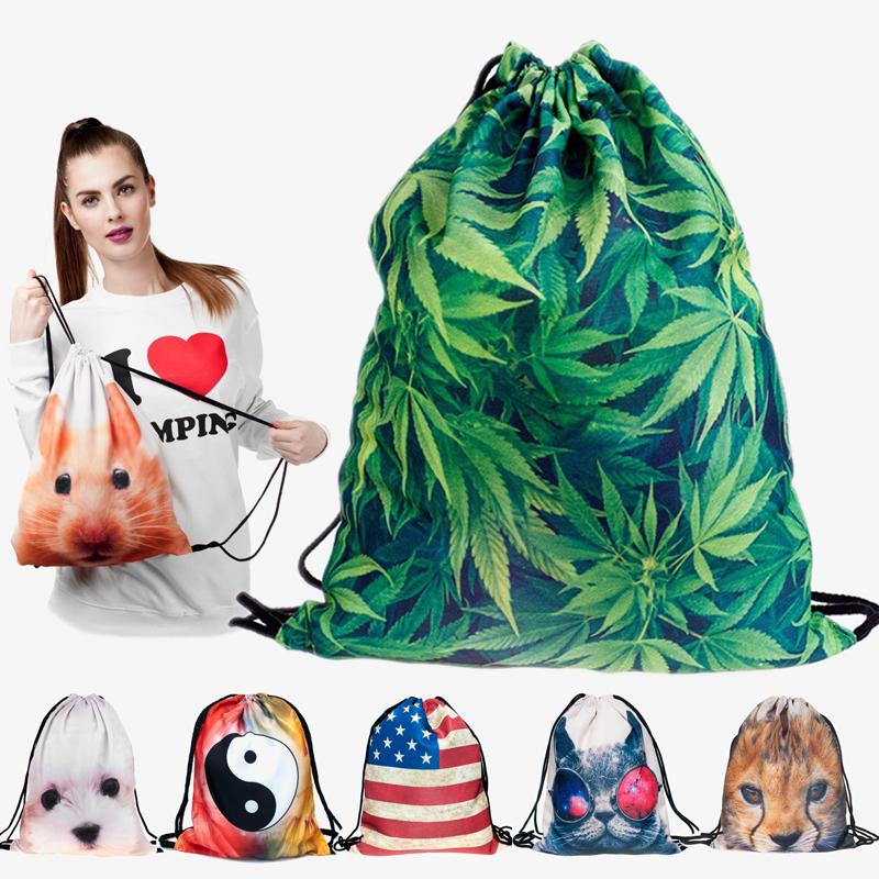 2015 new fashion backpack 3D printing travel softback man women harajuku drawstring bag mens backpacks(China (Mainland))