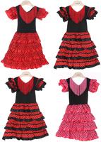 New Girls Beautiful Spanish Flamenco Dance Dress Size;2,4,6,8,10 Size U-pick