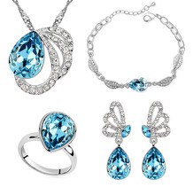 Fashion Jewelry Sets 18K White Gold Plated Austrian Crystal Necklace Eaarrings Bracelt Ring Accessory  For Woman Wedding()