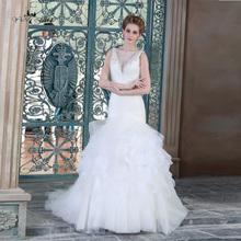Fashion Dress Sexy Backless Wedding Dresses 2015 Made In China Illusion V Neck HSW8(China (Mainland))