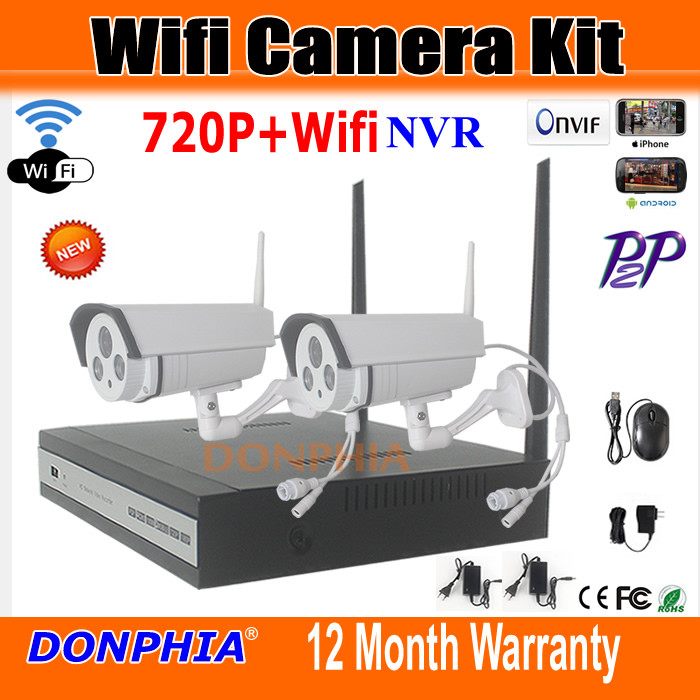 P2P 1280* 720P HD Wireless 1MP Outdoor Security Network Camera with 4Channel Wifi NVR CCTV Surveillance Systems can Remote view(China (Mainland))