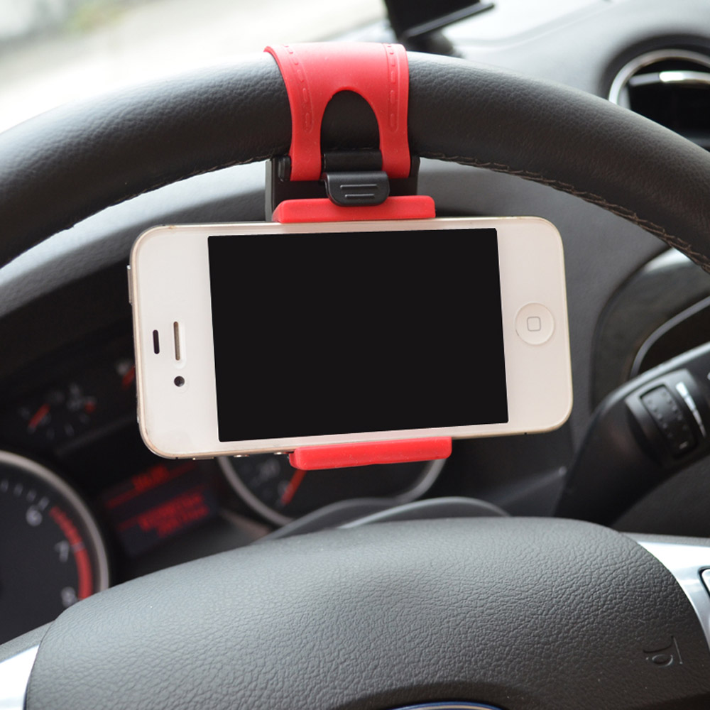 Cheap Sale! Hot Universal Car Steering Wheel Mobile Phone Holder for iPhone 4S 5 5S 5C Galaxy S4 S5 GPS MP4 PDA(China (Mainland))