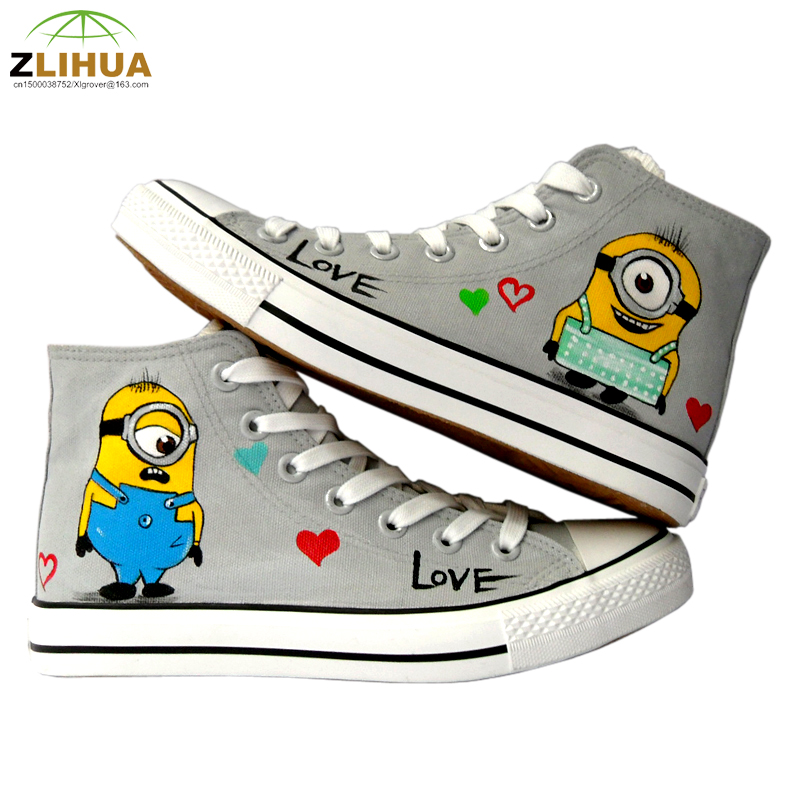 LUC 10 Styles Anime Despicable Me Minion Spongebob Shoes Hand Painted Canvas Shoes Children Graffiti Sneakers for Boys Big Kids<br><br>Aliexpress