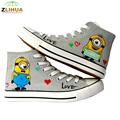 LUC 10 Styles Anime Despicable Me Minion Spongebob Shoes Hand Painted Canvas Shoes Children Graffiti Shoes