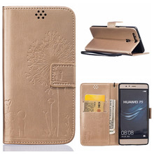 Luxury Leather Case Huawei Ascend P9 Flip Stand Wallet + TPU Silicon Back Cover Card Holder Lite P 9 - SJ Technology Co., Ltd. store