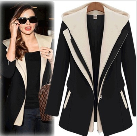 2014 New Winter/Fall Fashion Women solid color Slim Faux Two Piece Patchwork Blazer Casual Coat, - Ya still store