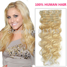 Discount!!Oxette 613# Color Clips in Hair Extensions Brazilian Remy Hair weave Premium Hair Weft remi hair extensions blonde col(China (Mainland))