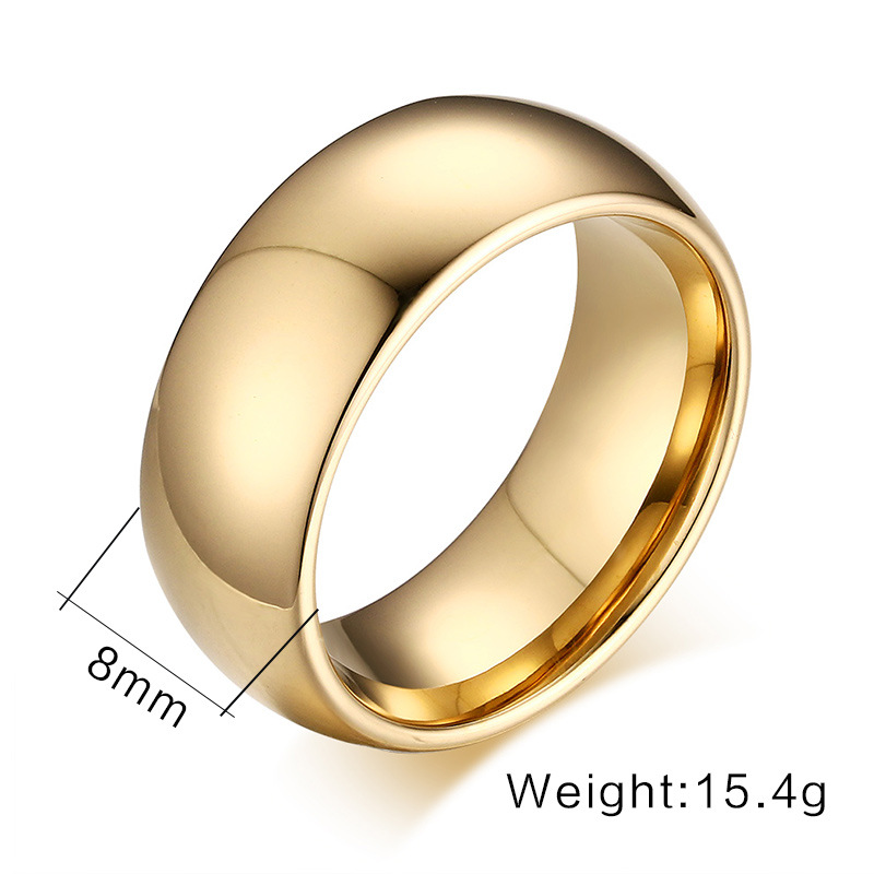 2016 Classic male Real Gold Plated 8mm width Titanium Steel Women Men Wedding Ring No fade valentine's day gift()