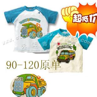 100% cotton baby summer short-sleeve applique car style short-sleeve baby short-sleeve