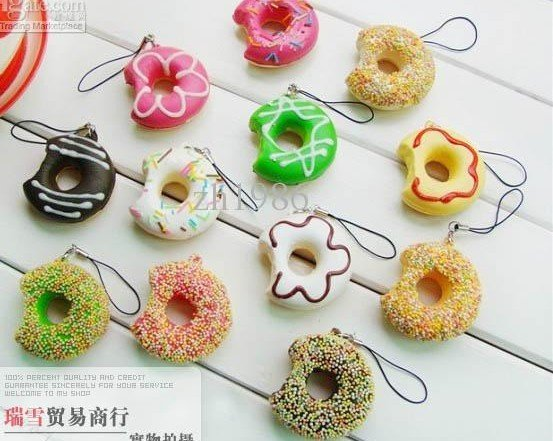 Free Shipping/ Cute cartoon Donut squishy charm / mobile phone strap Straps Wholesale 1 Pcs/lot(China (Mainland))