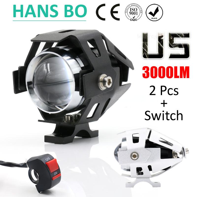 2PCS LYLLA Motorcycle LED Headlight 125W 3000LM U5 Waterproof Driving Spot Head Lamp Fog Light Switch Moto Accessories 12V 6000K