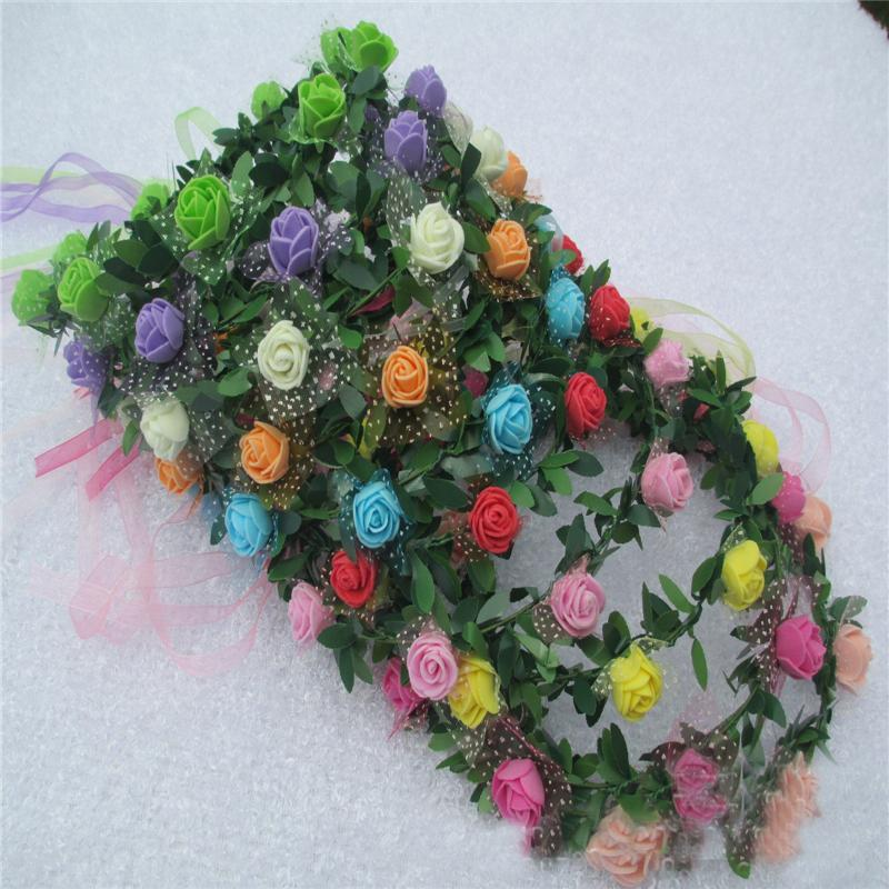 Hot Women Girl Bride Hair Wreaths Flower Headband Rose Crown Forehead Floral Hair Band for Party