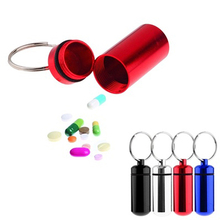 Small Tablets Holder Pill Case First Aid Container with Key Ring Key Chain(China (Mainland))