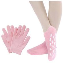 Лучшие Продажи Magic SPA Перчатки и Носки Отбеливание Увлажняющий Лечение По Уходу За Кожей Гель Носки Перчатки Set Free Размер Розовый(China (Mainland))