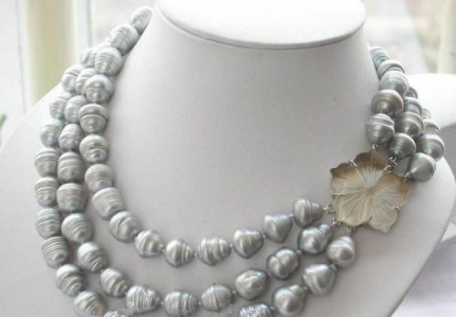 FREE shipping&gt;&gt;&gt; &gt;&gt;&gt;3ROW 12-15mm natural south sea gray baroque pearl necklace 18-20<br><br>Aliexpress