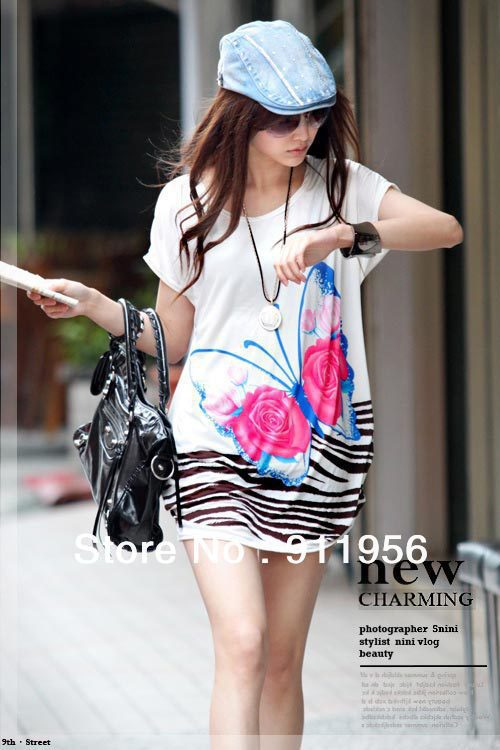Free shipping 2013 Fashion trendy Loose women clothes Tees T shirt Ice Silk Cotton Long version Butterfly Shirt Dress 226(China (Mainland))