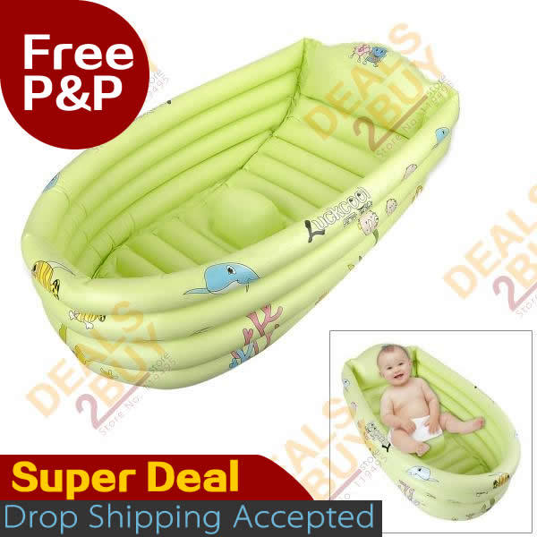 2013 hot - Inflatable Kids Baby Swim / Bathtub - Green, ideal for baby bath and swiming boat, drop shipping, Safe PVC Material(China (Mainland))