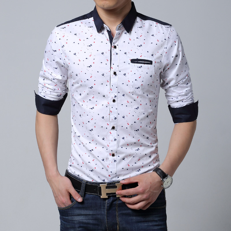 Wholesale Men Long Sleeve Shirt Casual Slim Fit Cotton Printed ...