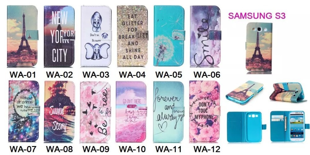 YB-SXS3 Stained Leather Protect Phone Case For Samsung Galaxy S3 With Beautiful And Colorful Painting(China (Mainland))