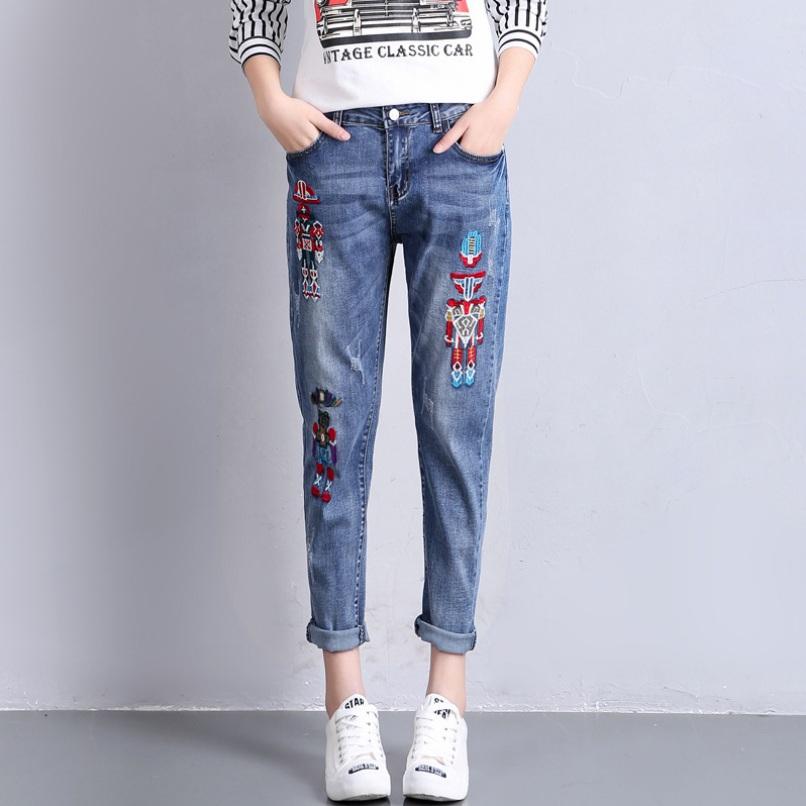 Women Bleached Ankle-Length Denim Pants Robot Embroidery Harem Jeans 2017 Summer Plus Size Slim Pencil Jeans 26-32(China (Mainland))