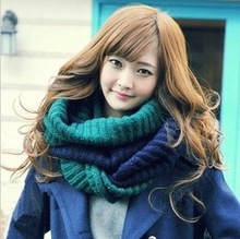 Two-tone wool scarves Korea winter colour matching head scarf woman Korean couples(China (Mainland))