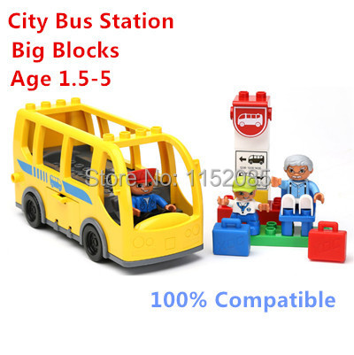 Big Building Blocks City Bus Station with Figures Set Funny Sence Blocks Compatible with Lego Duplo Educatioinal Toys Bay Blocks<br><br>Aliexpress