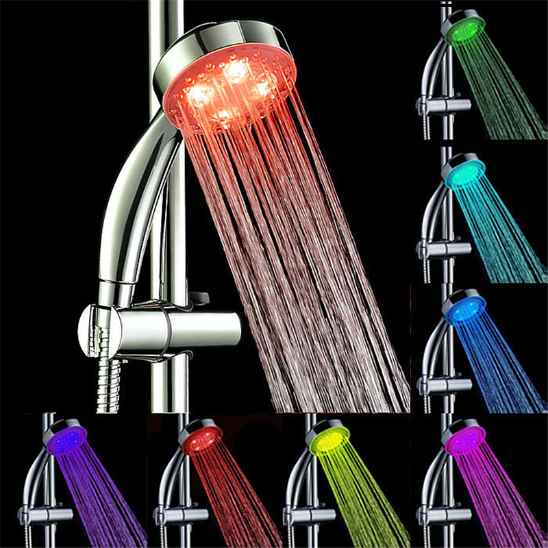 Handheld 7Color LED Romantic Light Water Bath Home Bathroom Shower Head Glow No Batteries And External Power Supply Wholesale(China (Mainland))