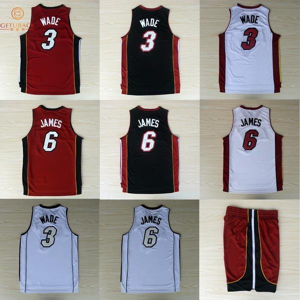 Miami #3 Dwyane Wade #6 LeBron James basketball jersey & shorts New Material Rev30 jerseys Embroidery Stitched Shirt NA156(China (Mainland))