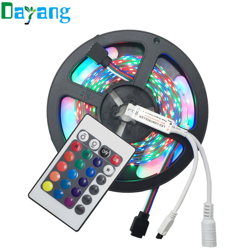 Hot 3528 RGB tape Cold White Warm white Blue Red Green color LED strip lights 5M 300 SMD diode 12V tiras led, RGB Remote Control(China (Mainland))