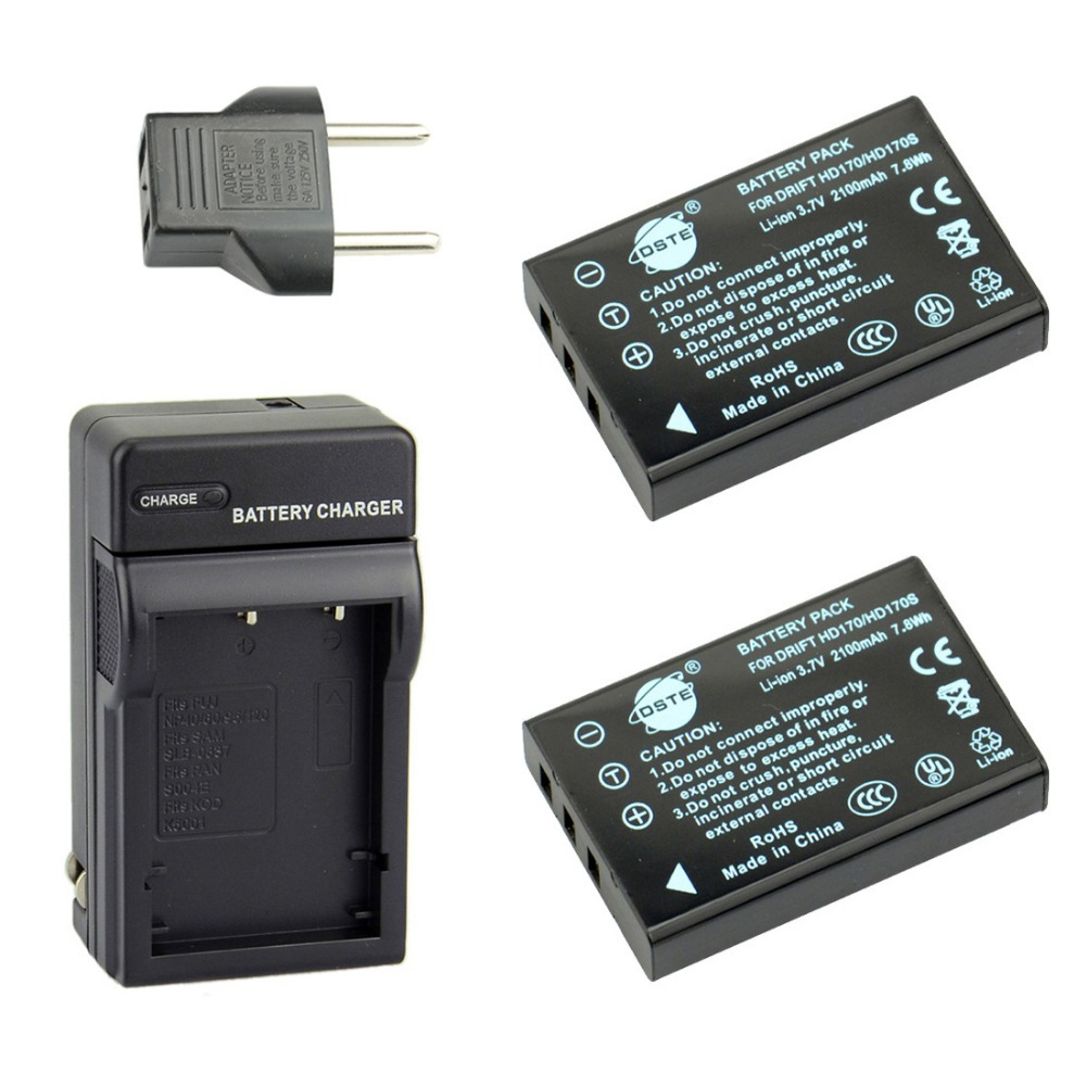 DSTE 2 Pcs 7.8 Wh 2100 mAh HD170 Rechargeable Battery + Charger For Drift InnovationHD170 HD170HD-170Stealth Camera(China (Mainland))