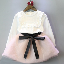 wholesale(5pcs/lot)- 2016 spring white long sleeves T-shirt  + skirt  clothes set for child girl(China (Mainland))