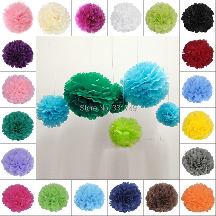 "Mixed 4 Sizes 1Pc*(8"" + 10"" + 12"" + 14"") Tissue Paper POMPOMS Flower Balls Home Decor Festive & Party Supplies Wedding Favors(China (Mainland))"