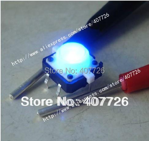 Free shipping 50pcs/lot size 12X12X7.3 push button Led Tact Switch illuminated switch(China (Mainland))