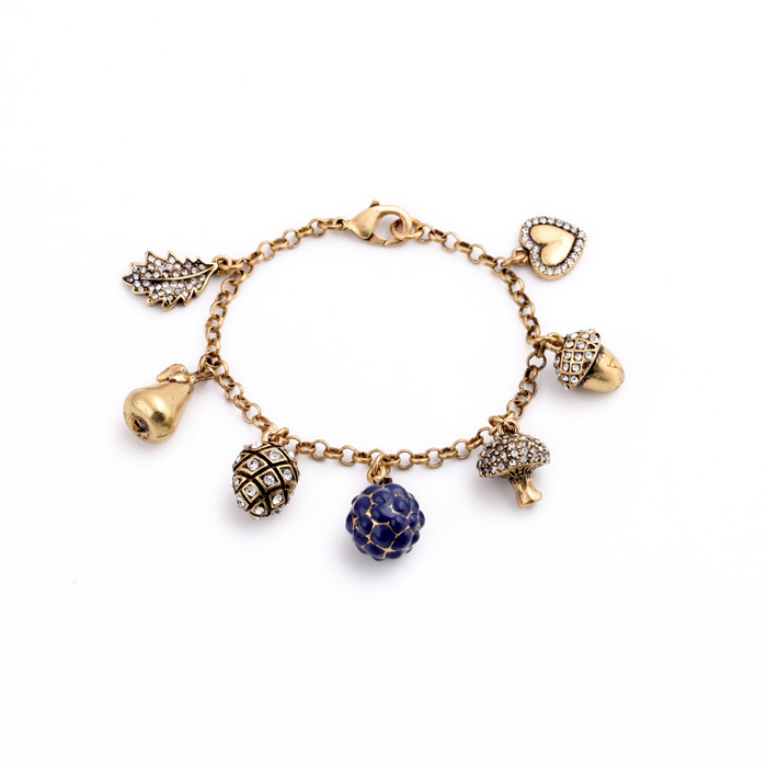 Charming Crystal Heart Ball Antique Gold Plated Bracelet Women Vintage Jewelry Free Shipping(China (Mainland))