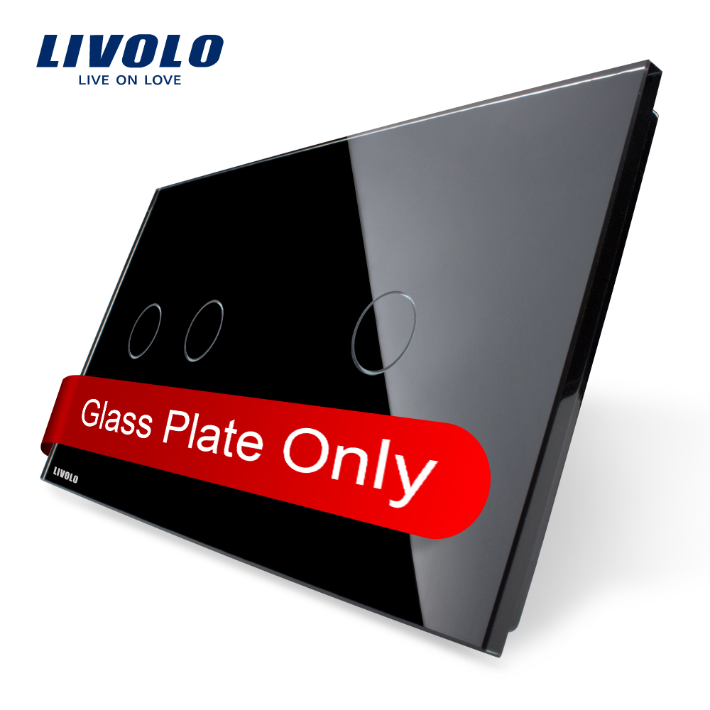 Livolo Luxury Pearl Black, Just Glass 151mm*80mm, EU standard, Double Glass Panel 2+1 gang,VL-C7-C2/C1-12(China (Mainland))