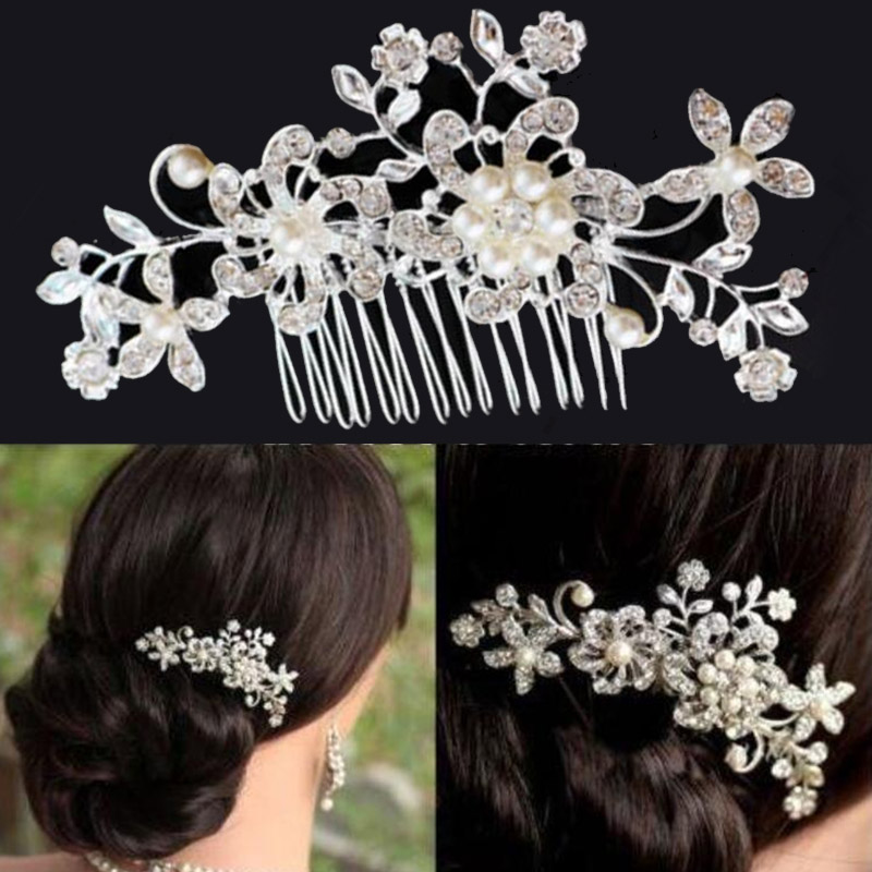 wedding hair comb bridal headpiece charm Pearl Flower Crystal hair pins accessories head piece hair jewelry for women(China (Mainland))