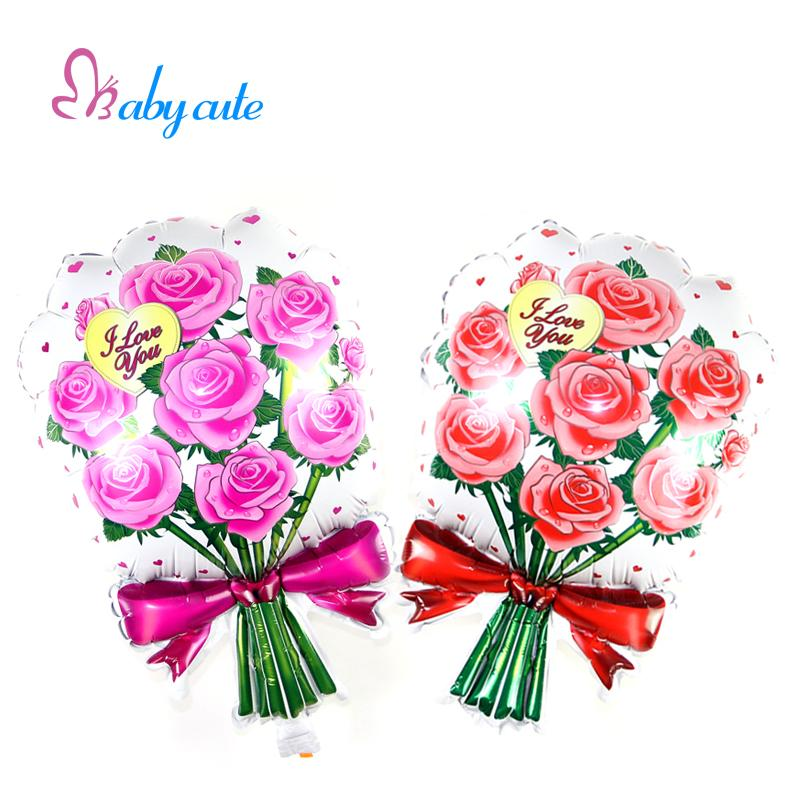 41x64cm Bouquet Of Roses Foil Helium Balloon Romantic Red & Pink Balloon Wedding Party Supplies Birthday Decoration Balloons(China (Mainland))