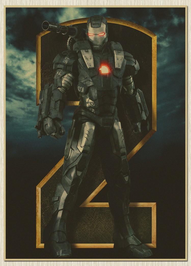 Nostalgic Iron man Movie Poster Vintage old Paper The cuadros bar pub drawing Marvel Wall Sticker(China (Mainland))