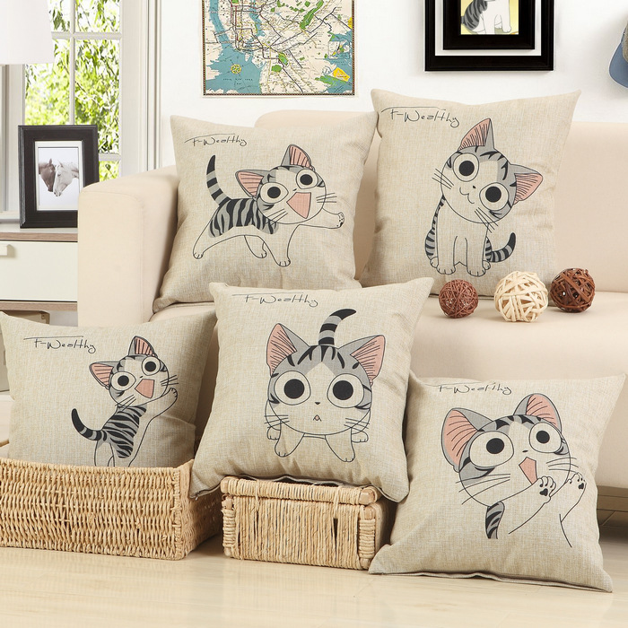 new cat printed cotton linen sofa cushion embrace pillow pillow home textile seat cushion - Bed Pillow Chair