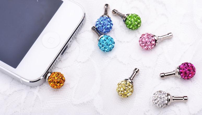 3p/lots New Crystal Rhinestone bling diamond anti Dust Plug for cell phone ipad mp3 mp4 laptop 3.5mm earphones phone accessories(China (Mainland))