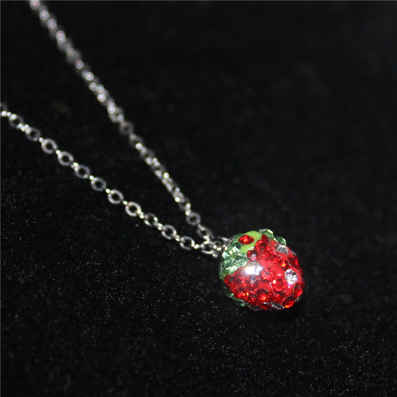 2016 new fashion brand jewelry silver plated Necklace & Pendants shamballa strawberry simple necklace for women Christmas gift(China (Mainland))